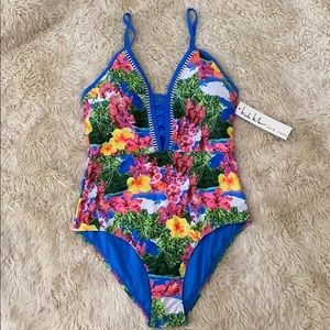 NWT NICOLE MILLER tropical lace mio swimsuit